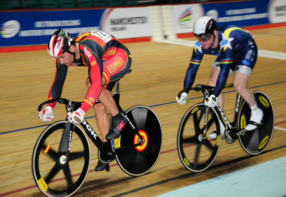 Track cyclists competing