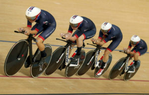 Cyclists in track racing contest.