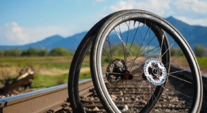 A pair of bicycle tubeless wheels.