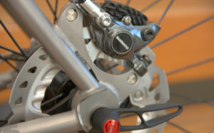 Bicycle with disc brakes.