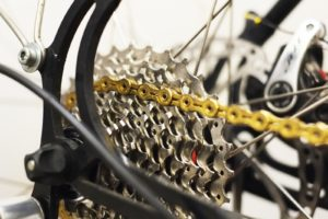 Speed chain mounted on a bike.