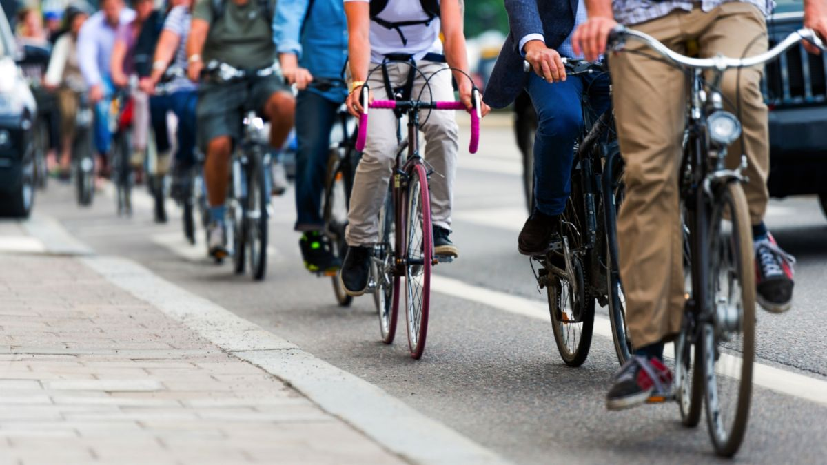 Commuters on bikes.
