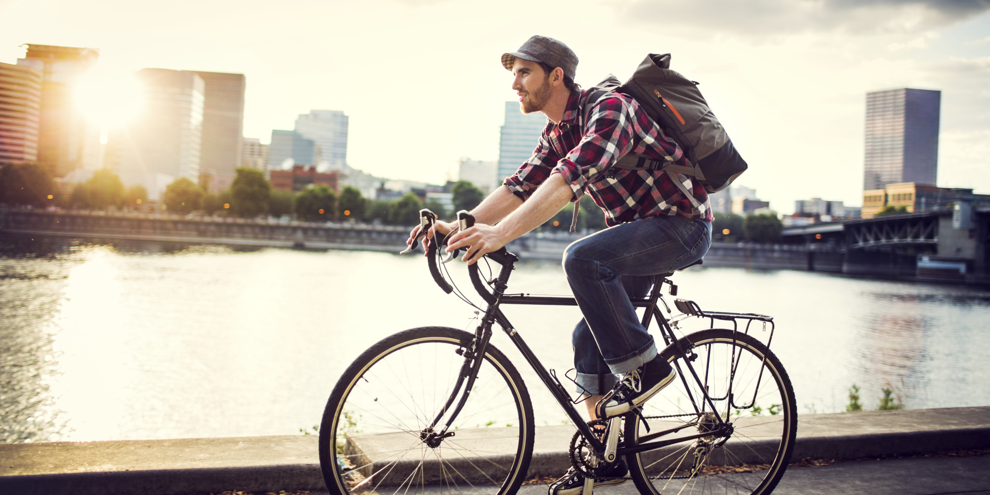 Cyclist courier riding his bike.