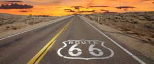 Route 66 in the sunset