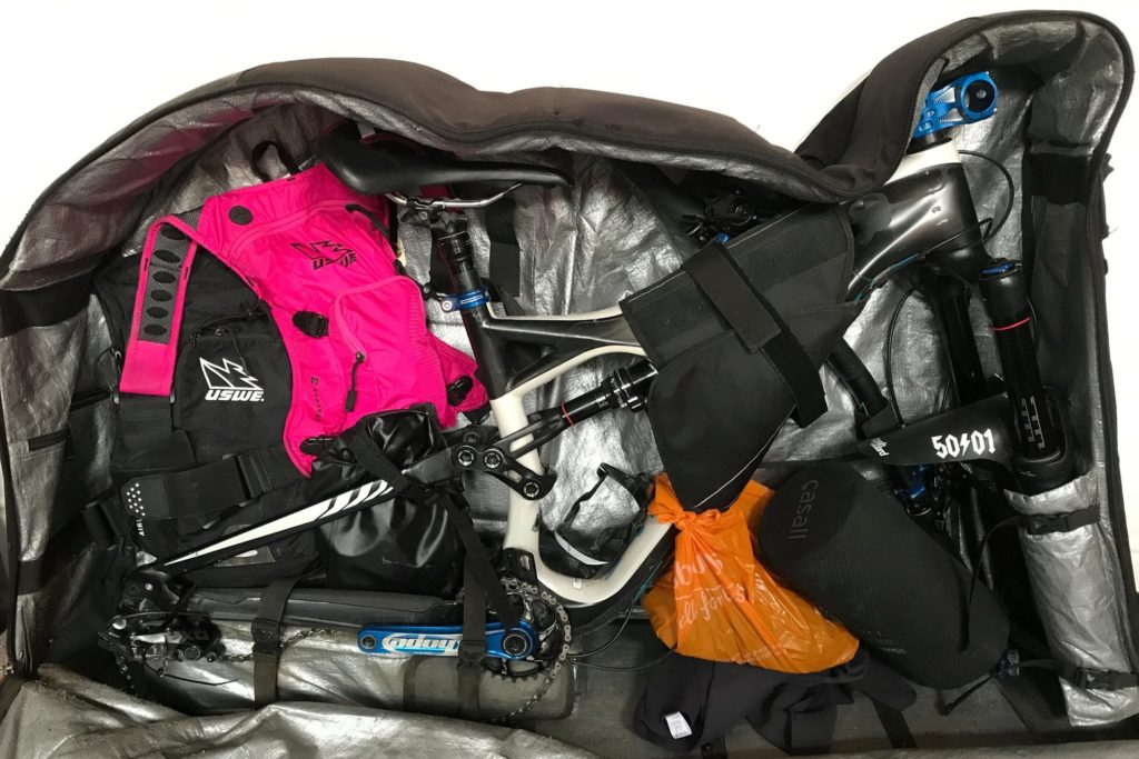 Bicycle packed in a travelling bag.