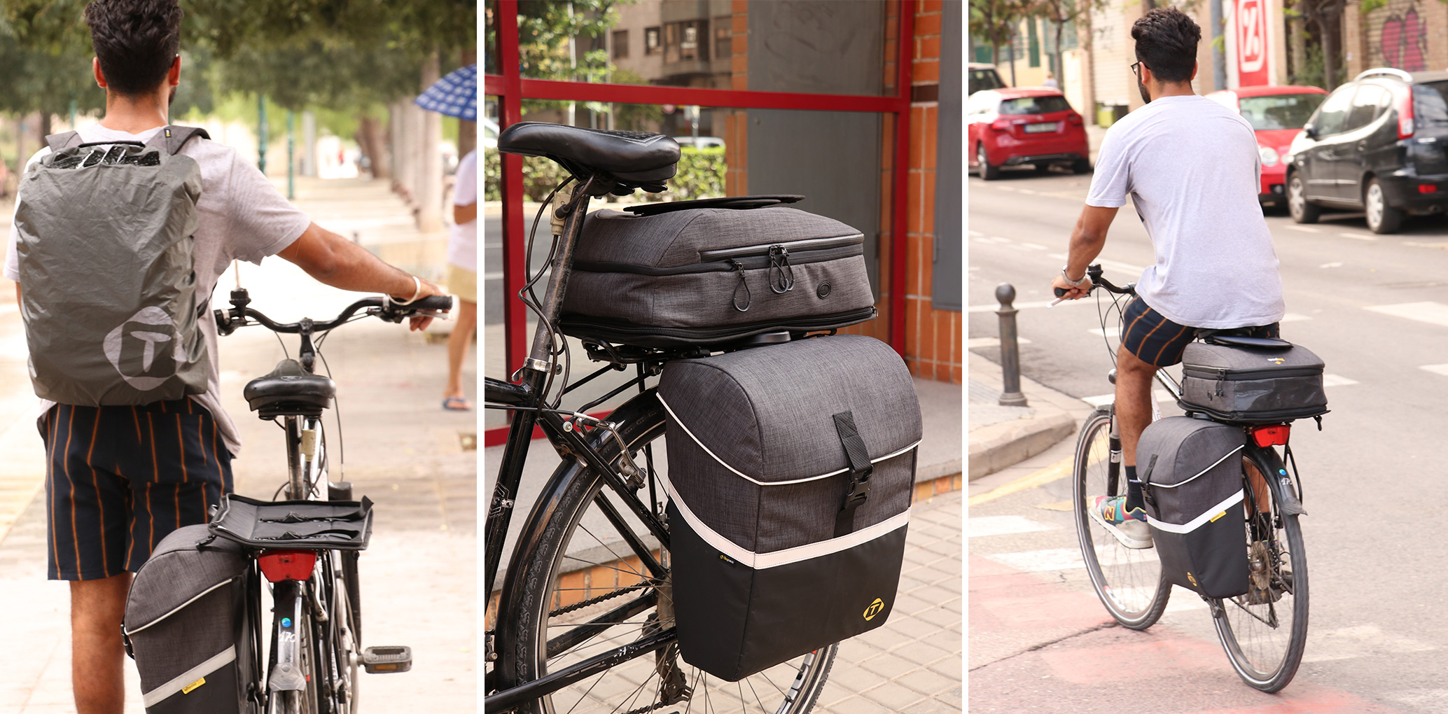 Cyclist with Wheeler Smart Cycling Backpack on his bike.