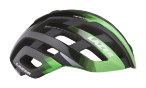 Black and green Lazer Century bike helmet.