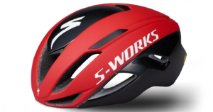 Black and red S-Works Evade II with ANGi Helmet.