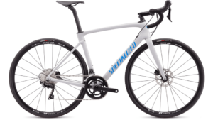 White Specialized Roubaix Sport Bike.