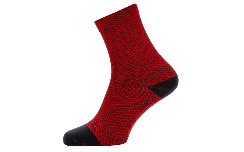 Red and black Gore C3 Dot Mid sock